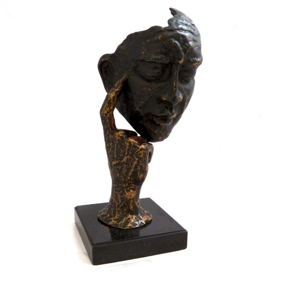 """Thinking Man"" Sculpture with Bronzed Finish"