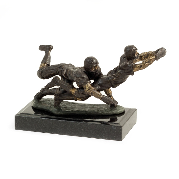 Bronze Football Players Sculpture on Marble Base