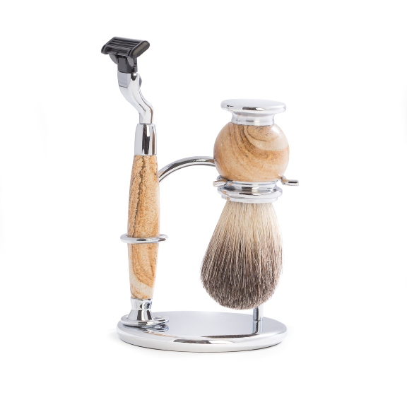 """Mach 3"" Razor & Pure Badger Brush on Chrome with Tan Stone Stand"