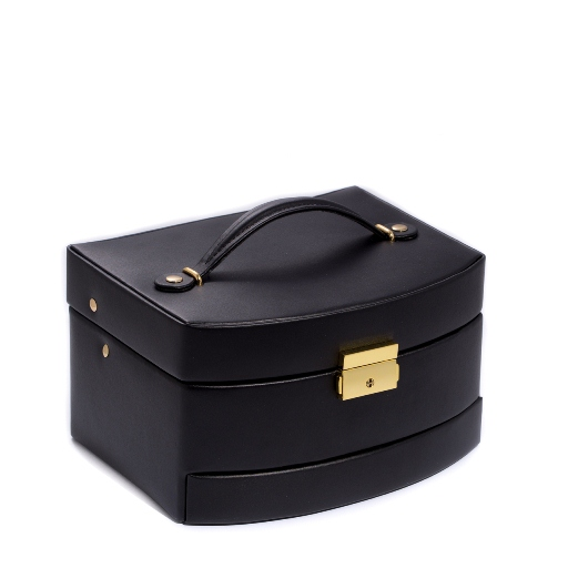 3 Level Hinged Black Leather Jewelry Box with Mirror