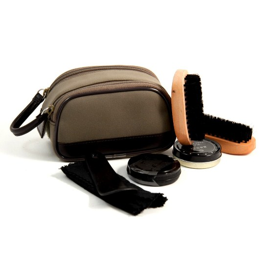 Shoe Shine Kit in Ultra Suede & Brown Leather Zippered Case