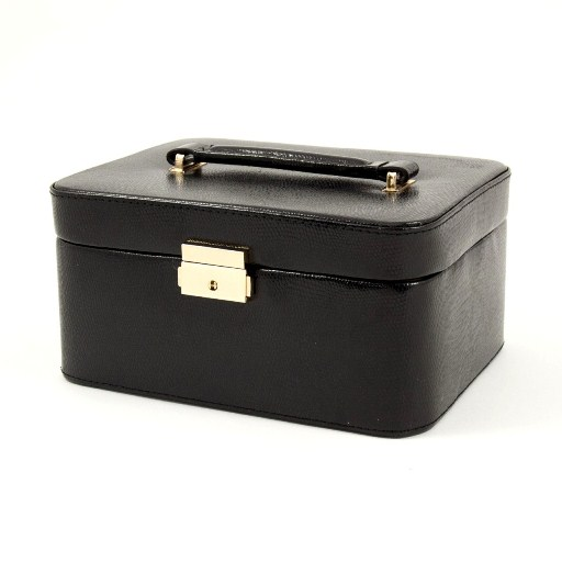 "Black ""Lizard"" Leather Jewelry Box for 3 Watches"