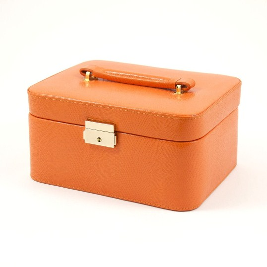 "Orange ""Lizard"" Leather Jewelry Box for 3 Watches"