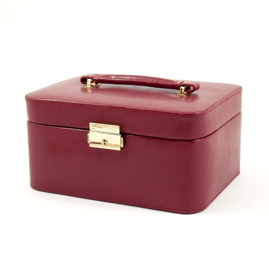 "Red ""Lizard"" Leather Jewelry Box for 3 Watches"