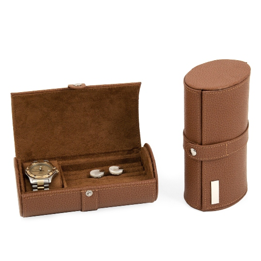 Tan Leather Watch & Cufflink Travel Case with Snap Closure