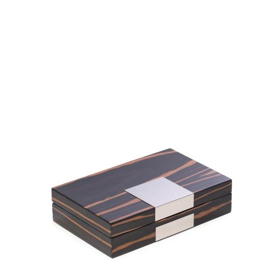 """Lacquered """"Ebony"""" Burl Wood Valet Box"""