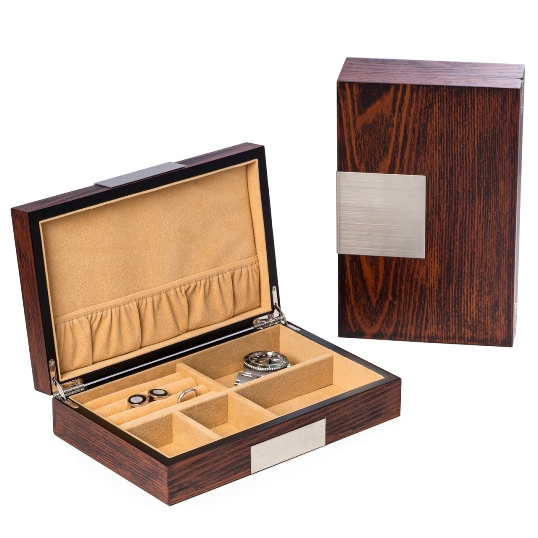 "Lacquered ""Natural"" Wood Valet Box"