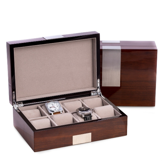 "Lacquered ""Walnut"" Wood 8 Watch Box"