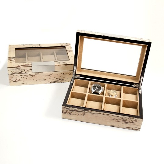 """Lacquered """"Exotic Ice"""" Burl Wood 8 Watch Case"""