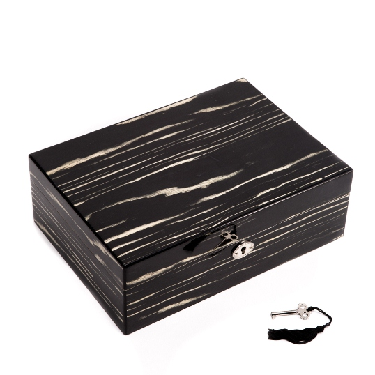"Lacquered ""Ebony"" Wood Jewelry Box"