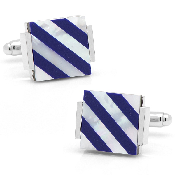 Floating Lapis/ Mother of Pearl Cufflinks