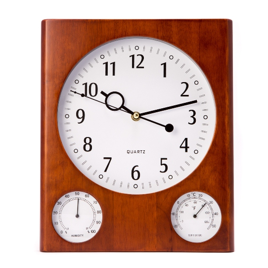 """Cherry"" Wall Clock with Thermometer & Hygrometer"