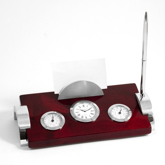 """""""Rosewood"""" & Metal Weather Station w/ Clock"""