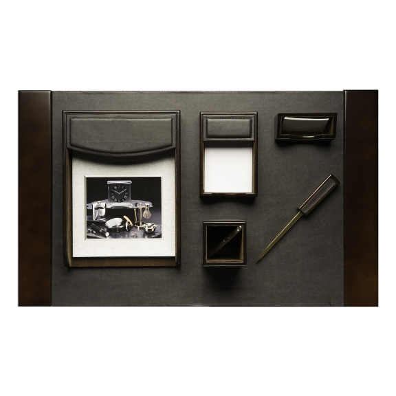 6 Piece Desk Set in Brown Leather and Wood Accents.