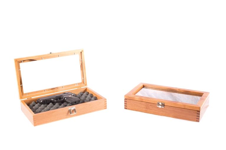 Two Pistol DISPLAY Gun Chest-Cherry Finish on Solid ALDER Wood