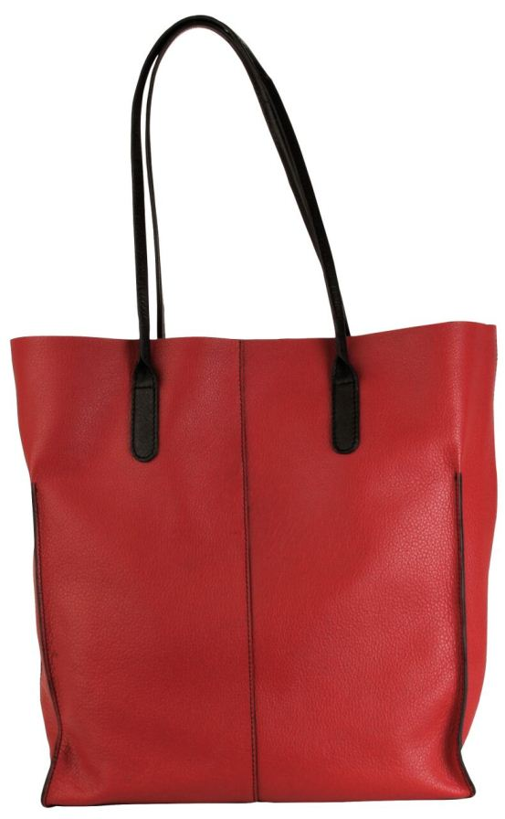 Market Tote - Deep Red with Black Trim