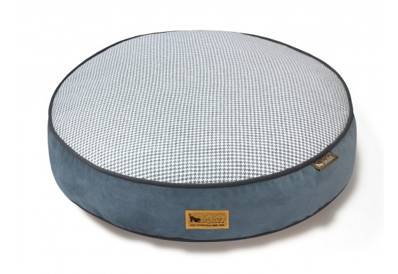Round Bed - Houndstooth - Blue/White