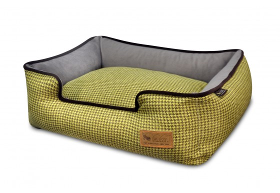 Lounge Bed - Houndstooth - Yellow/Brown