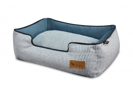 Lounge Bed - Houndstooth - Blue/White