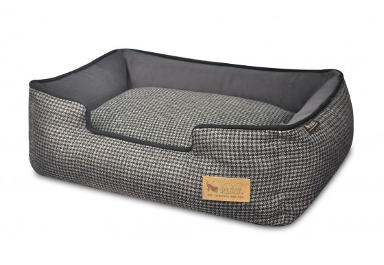 Lounge Bed - Houndstooth - Black/Grey