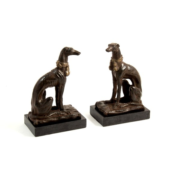 Whippet Bookends on Marble Base, T.P.