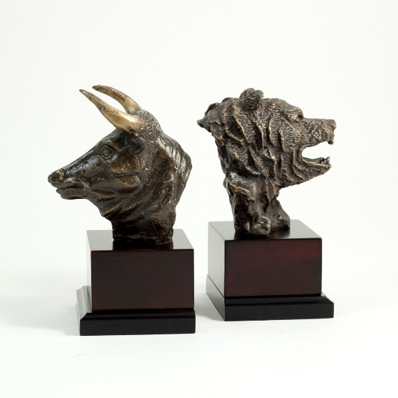 Stock Market, Bronzed Metal on Wood Bookends, T.P.