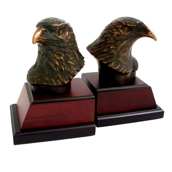 Eagle, Bronzed/Patina Finished Brass on Burl wood Bookends, T.P.