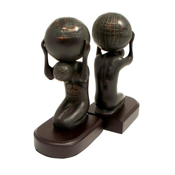 Atlas w/ Globe, Bronzed Brass on Wood Bookends, T.P.