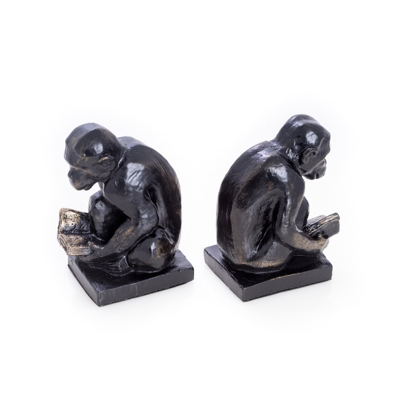 Monkey Bookends, Bronzed, T.P.