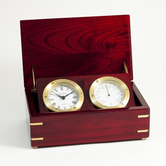 Clock & Thermo. In Rosewood Box. T.P.