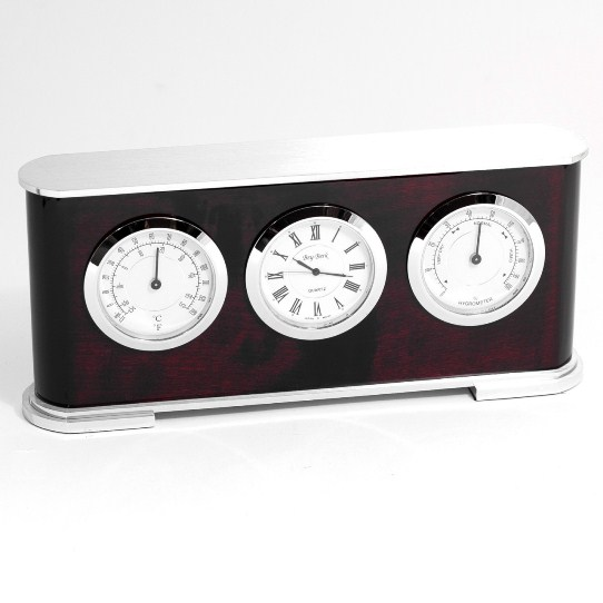 """""""Rosewood"""" & Metal Weather Station w/ Clock, T.P."""