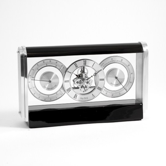 Skeleton Movement Clock w/ Hygro. & Thermo., Stainless & Lacquered Black Wood, T.P.