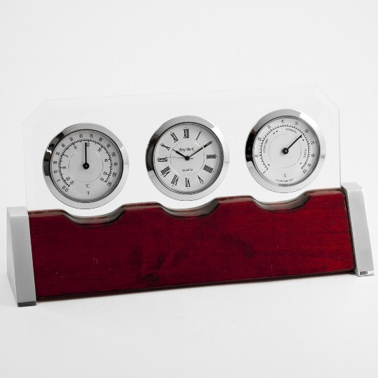 Clock, Thermo. & Hygro. on Rosewood Base w/ Personalization Plate, T.P.