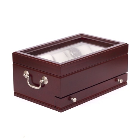 The Captain: Ten Watch Glass Top Storage Chest Mahogany