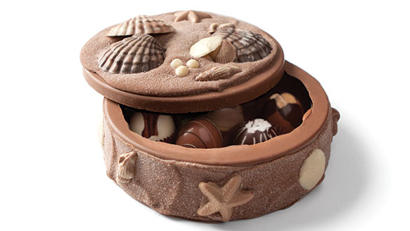 Filled Seashell Art Box with Truffles