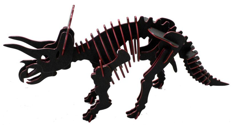 3D Dinosaur Puzzle - Triceratops - Two-Tone HDPE - 8 Color Combinations