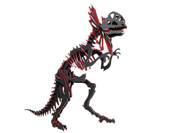 3D Dinosaur Puzzle - Dilophosaurus - Two-Tone HDPE - 8 Color Combinations