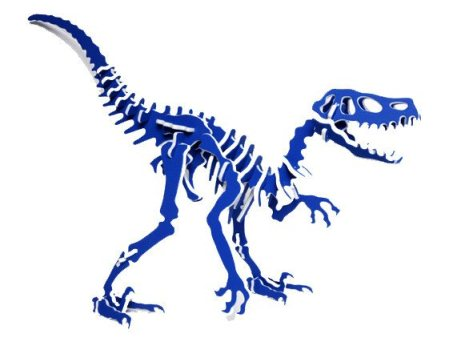3D Dinosaur Puzzle - Velociraptor - Two-Tone HDPE - 8 Color Combinations