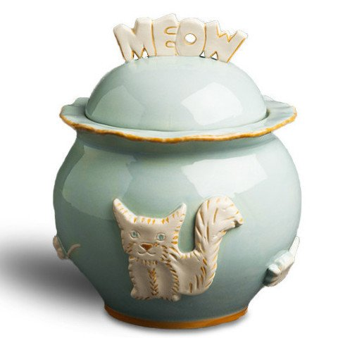 Cat Treat Jar - Sky Blue