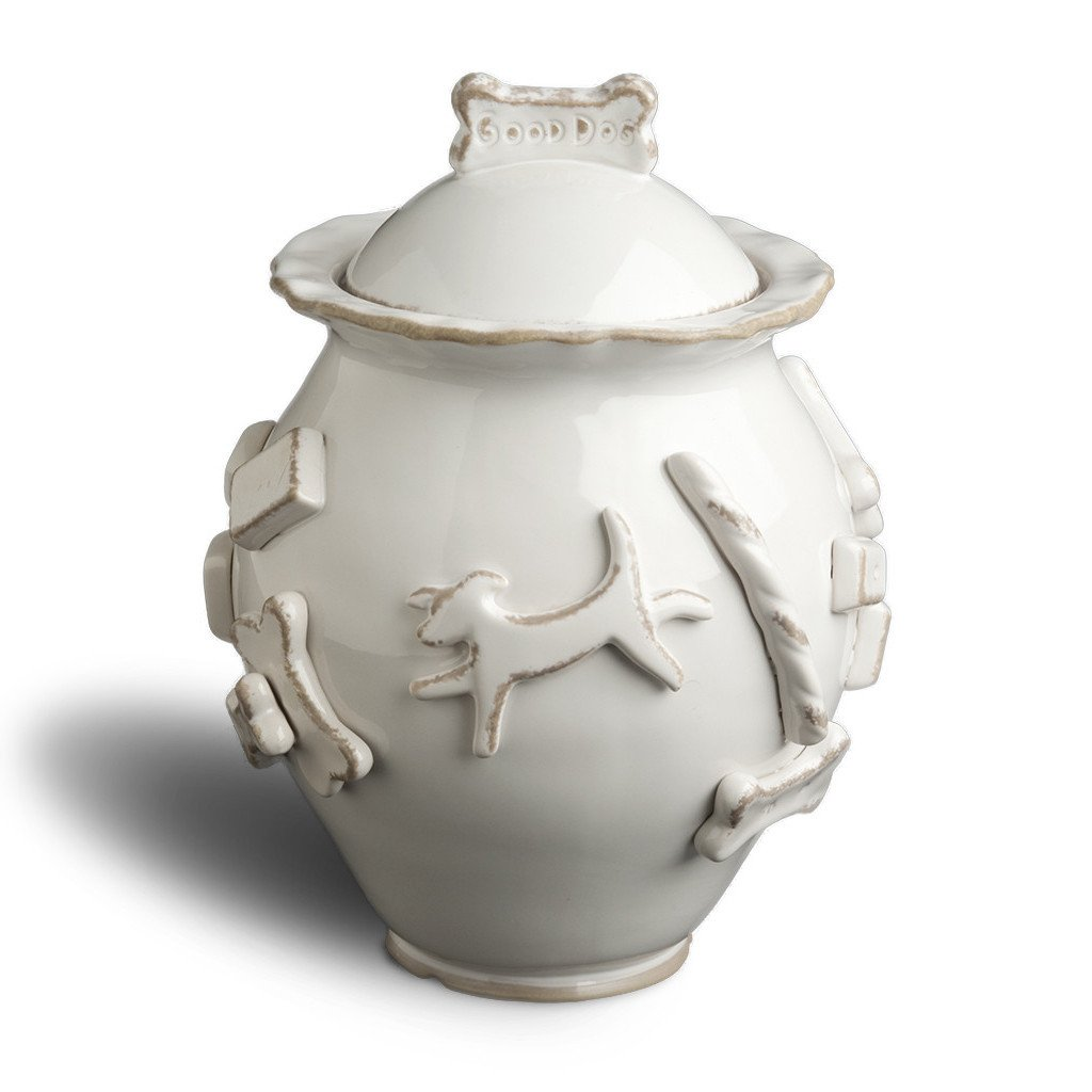 Dog Treat Jar - French White