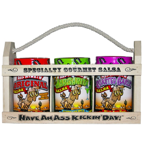 Ass Kickin' Salsa Wooden Crate Gift Set