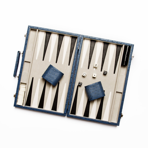 Ostrich Style New School Backgammon Set - Blue