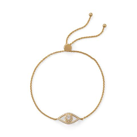 14 Karat Gold Plated CZ Evil Eye Friendship Bolo Bracelet