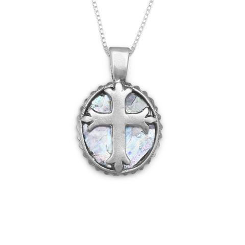 "18"" Oval Roman Glass Cross Necklace"