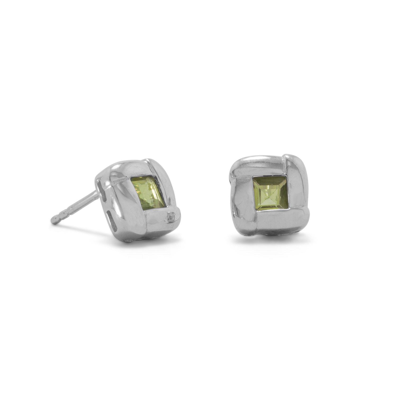 Oxidized Peridot Post Earrings