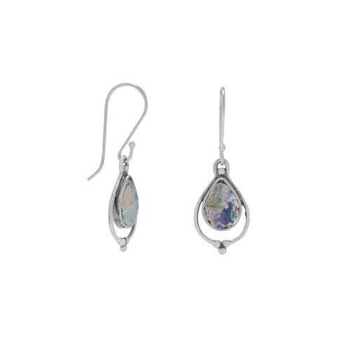 Pear Shape Roman Glass Earrings