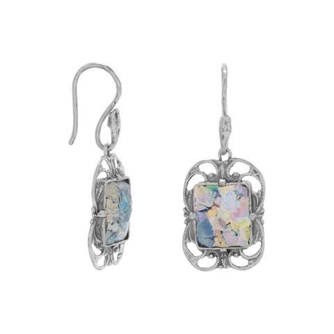 Ornate Oxidized Roman Glass Earrings