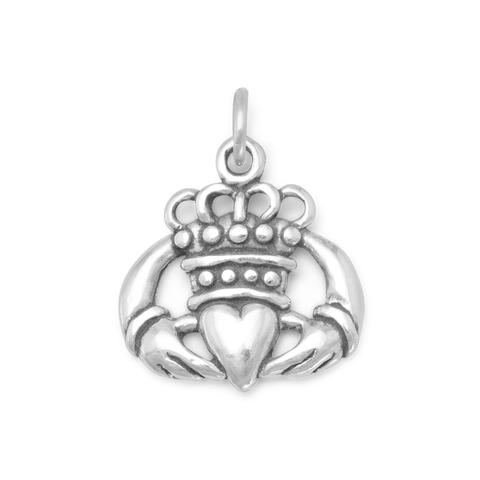 Oxidized Claddagh Charm