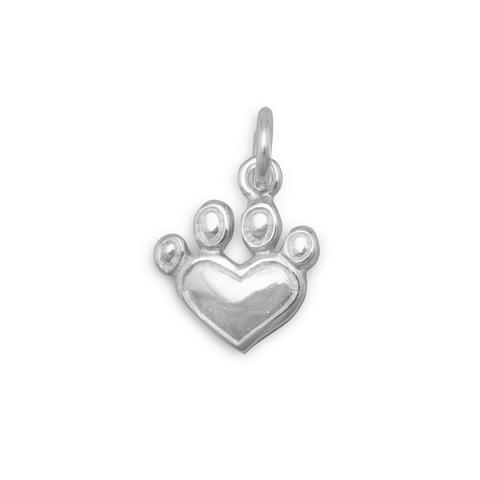 Heart Paw Print Charm