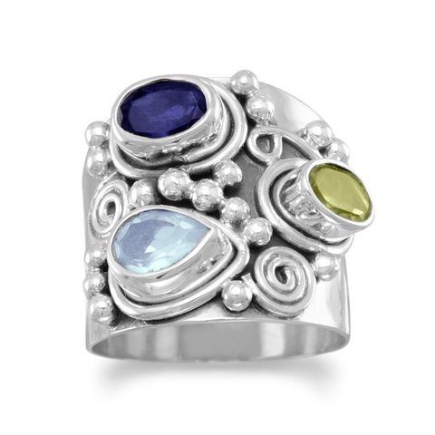 Ornate Multistone Ring